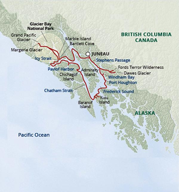 Frederick Sound Alaska Map.Glacier Bay Small Ship Cruise Untours Ventures